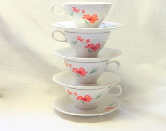 Midcentury Ben Seibel Designed Tea Cup Sets Russell Wright Luau Pattern Orange Flower Tea Cups Saucers Iroquois Impromptu  Set of 4