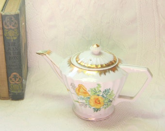 Vintage Tea Coffee Pot Serving Decor  Yellow Floral Gold Teapot Vase gift for Her