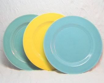 Vintage  Harlequin Dinner Plates Aqua 1940 Harlequin Plates Vintage Fiestaware  Riviera China Teal Dinner Plate Old Harlequin China