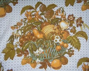 Vintage Curtain Drapes Tablecloth Panel Fall Harvest Pumpkin Fruit Cornicopia Home Decor Orange Brown Fruit Farmhouse Rustic Americana