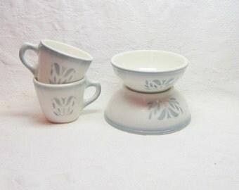 Vintage Syracuse China Syracuse Restaurantware China Grey White Air Brushed Syracuse Cadet Dinnerware Bowls Coffee Tea Cups