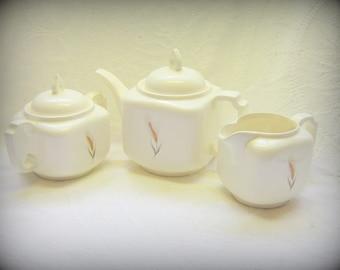 Vintage Serving China 3 Piece Tea Set White Tea Pot Matching Creamer and Covered Sugar Bowl White Golden Wheat Pattern China  Farm House