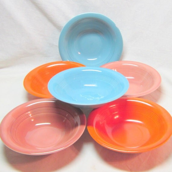 Vintage Harlequin China Bowls Art Deco Bowls Red Rose Mauve Turquoise Orange Small Bowls Fiestaware Riviera Bowls 1930-1950 Dinnerware Bowls