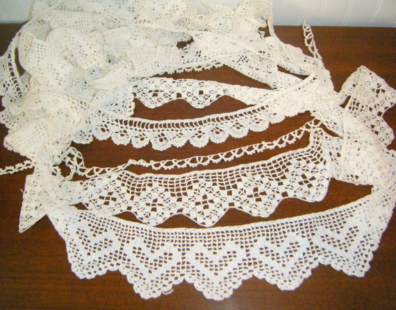 Vintage Hand Crocheted Tatted Trim Destash Creative Over 8 Yards Shabby Chic Cottage Steampunk Victorian Gothic Fantasy