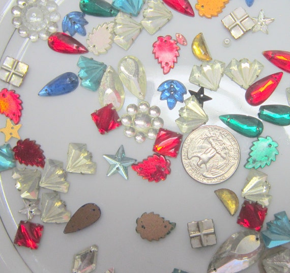 Vintage Costume Beads Jewelry Rhinestones  Holiday Ornament Destash UpCycle Steampunk Craft Supplies Findings