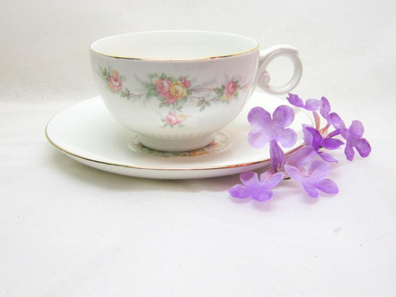 Vintage 22Kt Gold Floral Teacup Saucer Shabby Chic Cottage Eastern China Pink Yellow Green Holiday Gift Guide