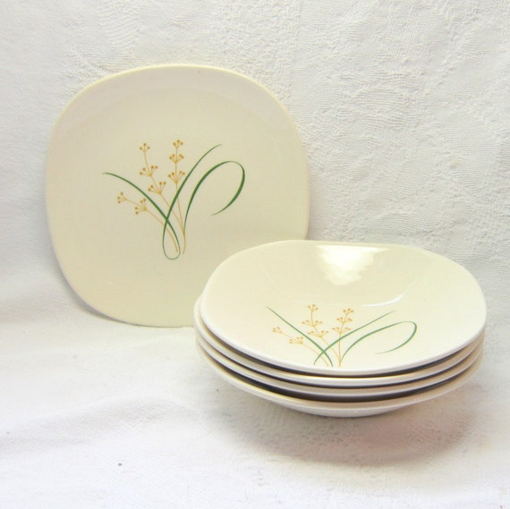 4  Knowles Highland Berry Dessert Bowls Serving Dinnerware China Mid Century Mad Men Simple Elegant Easy Serving Bowls China Decor