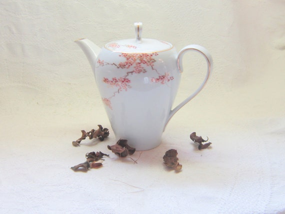 Vintage China Coffee Tea Pot Serving Asian Maple Leaves