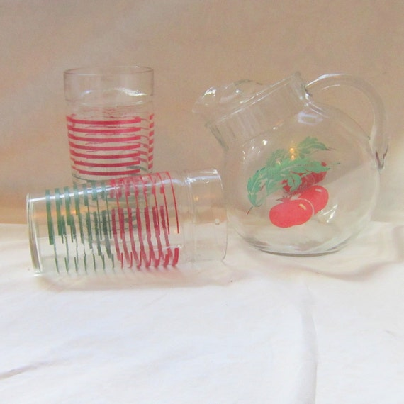 Ball Tomato Pitcher Glasses Serving Decor Kitchen Retro Mid Century Red Green Sunday Morning Bloody Mary  Gift for Him Her Home Cottage