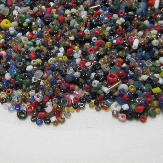 Tiny Glass Beads Multi Colored Jewelry Supplies OAK Assemblage Steampunk Gothic Fantasy Destash