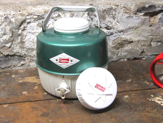 Vintage Water Jug Snow Lite Coleman Metallic Green Diamond Label Gift for Him Rustic OutDoor Life Keeping Everything and Everyone Cool
