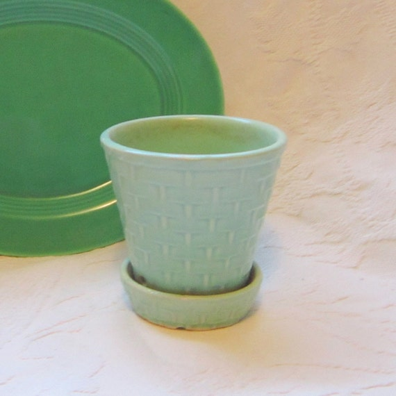 Morton Mint Green Pastel Basket Weave Planter Vase Desk Organizer Spring Trends Gift for Her Garden Spring Outdoor