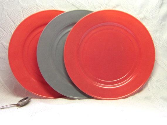 1940 Plates Serving  Hazel Atlas Milk Glass Dinner Plates Pink Dusky Grey  Opaque Moderntone Gift Decor Color Milk Glass Home Decor Kitchen