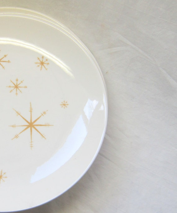6 Star Glow Pattern Plates Atomic Retro Mid Century Modern China Yellow Gold Mad Men Tableware China Plates