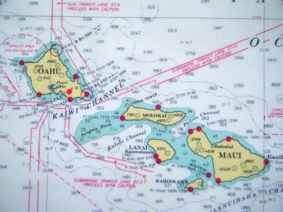 Retro Hawaiian Archipelago Map Kitchen Place Mats Shipwrecked Red Aqua Yellow Islands Navigation Home decor