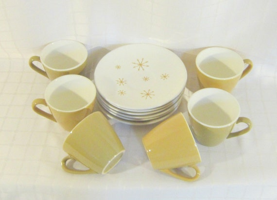 Mid Century Star Glow Atomic Mad Men Pattern Mustard Gold  Tea Coffee Cups Saucers Modern Home Decor Yellow Housewares