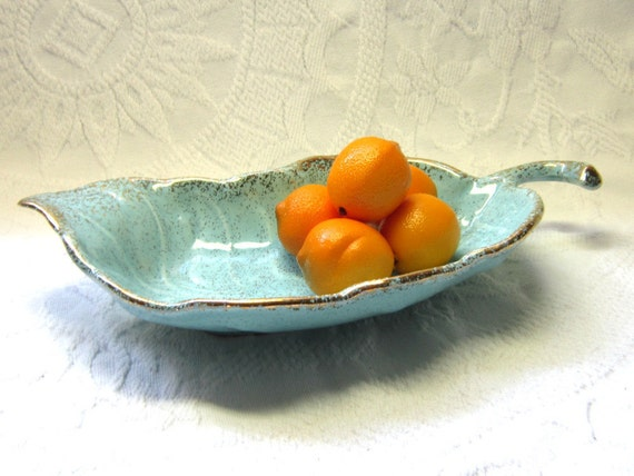 Mid Century Aqua Turquoise Gold Art Pottery Serving Dish Organizer Modern Gift for Her Office Bedroom Kitchen Decor Organizer Serving