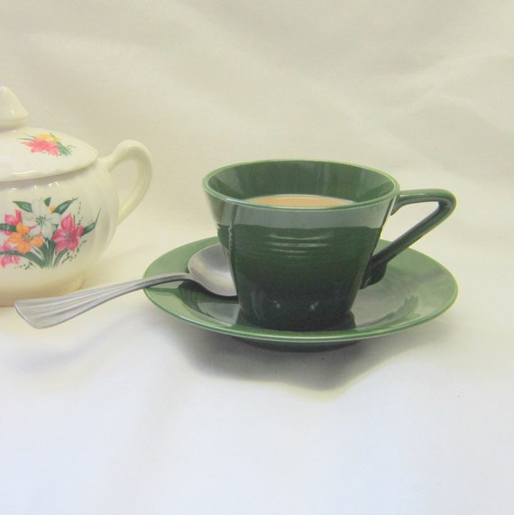 Spruce Green Cup Saucer  Art Deco Harlequin Coffee Tea Cup Saucer Gift for Her Him Home Kitchen Decor Cottage Collectable
