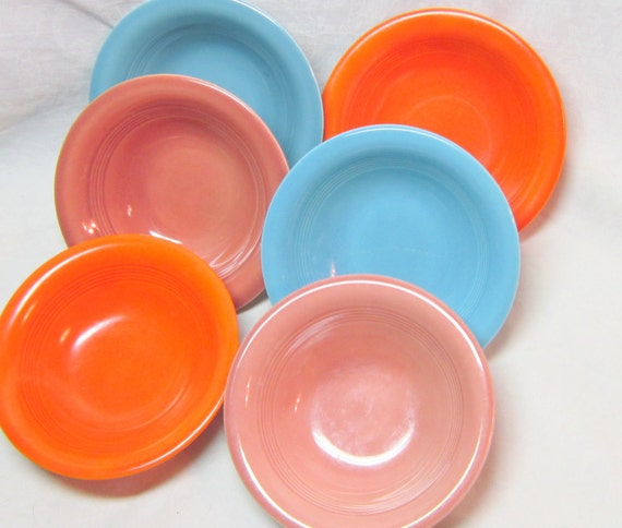 Vivid Color Harlequin 1930-1950  Bowls Art Deco Design Colorful Red Rose Mauve Turquoise Orange Blue Collectable Kitchen Ware Gift