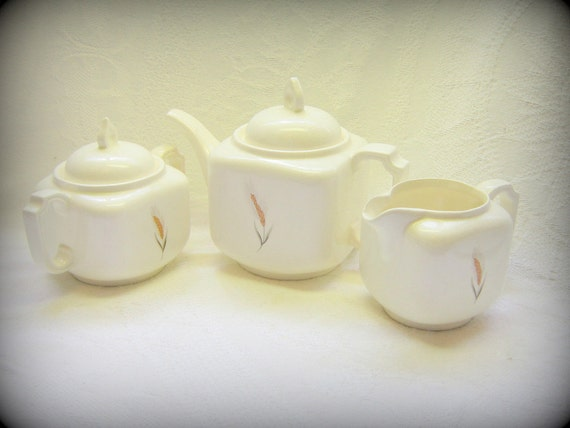 Vintage Serving China 3 Piece Tea Set White Tea Pot Matching Creamer and Covered Sugar Bowl White Golden Wheat Pattern China  Farm House