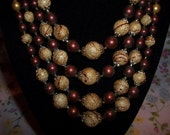 Fabulous Set Browns and Tans Faux Pearls Four Strand Choker With Matching Clip On Earrings