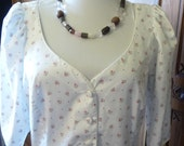 Laura Ashley Dress Summer Cotton Pink roses size 14 USA  42 Eur  16 UK  Label Made in Great Britain
