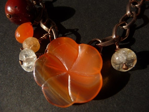 Gemstone Charm Bracelet Copper chain CarnelianFocal Pearls Citrine Agate TOURMALINE Quartz One of a Kind