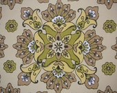 5 rolls vintage wallpaper artistic floral figures in beige, green and yellow