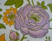 full roll vintage wallpaper orange and purple flowers 10m x 53 cm