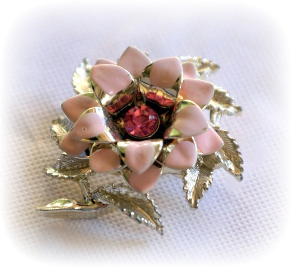Pretty Pink Enamel Flower Brooch with Sparkling Rhinestone Center