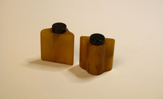 IItty Bitty Amber Bakelite S&P Shakers
