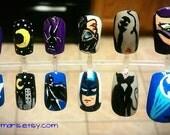 Batman & Catwoman Nail Art