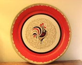 Vintage Rooster Tray - Large - Red and Gold