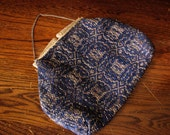 ON SALE- Small Fabric 20's Purse - Dark Blue & Silver - Ornate Clasp