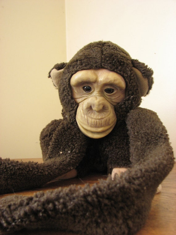 Vintage Monkey Puppet- 1980s stuffed toy