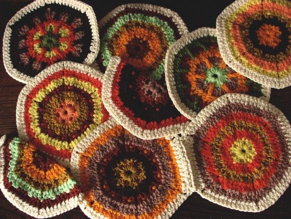 7 Crocheted Hexagons - An Unfinished Project or Pot Holders
