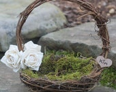 Rustic Flower Girl Basket Nest Personalized, Twigs Of Grapevine, Paper Roses, PLEASE READ MEASUREMENTS