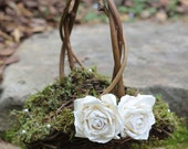 Flower Girl Basket Lined With Moss And Pearls or Crystals, Roses Rustic Shabby Chic Weddings PLEASE READ MEASUREMENTS!
