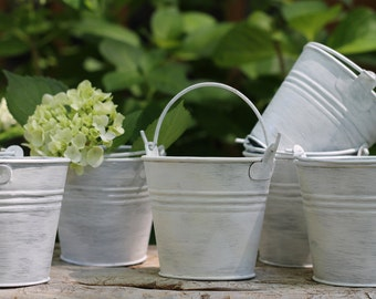 Wedding Favor Pails, Tins, Buckets For Rustic Wedding Decoration, Flowers, Custom Color Choice Set Of 6