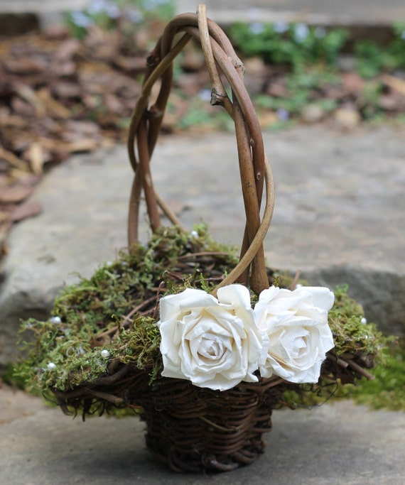 Flower Girl Basket Moss : Flower girl basket lined with moss and pearls or crystals