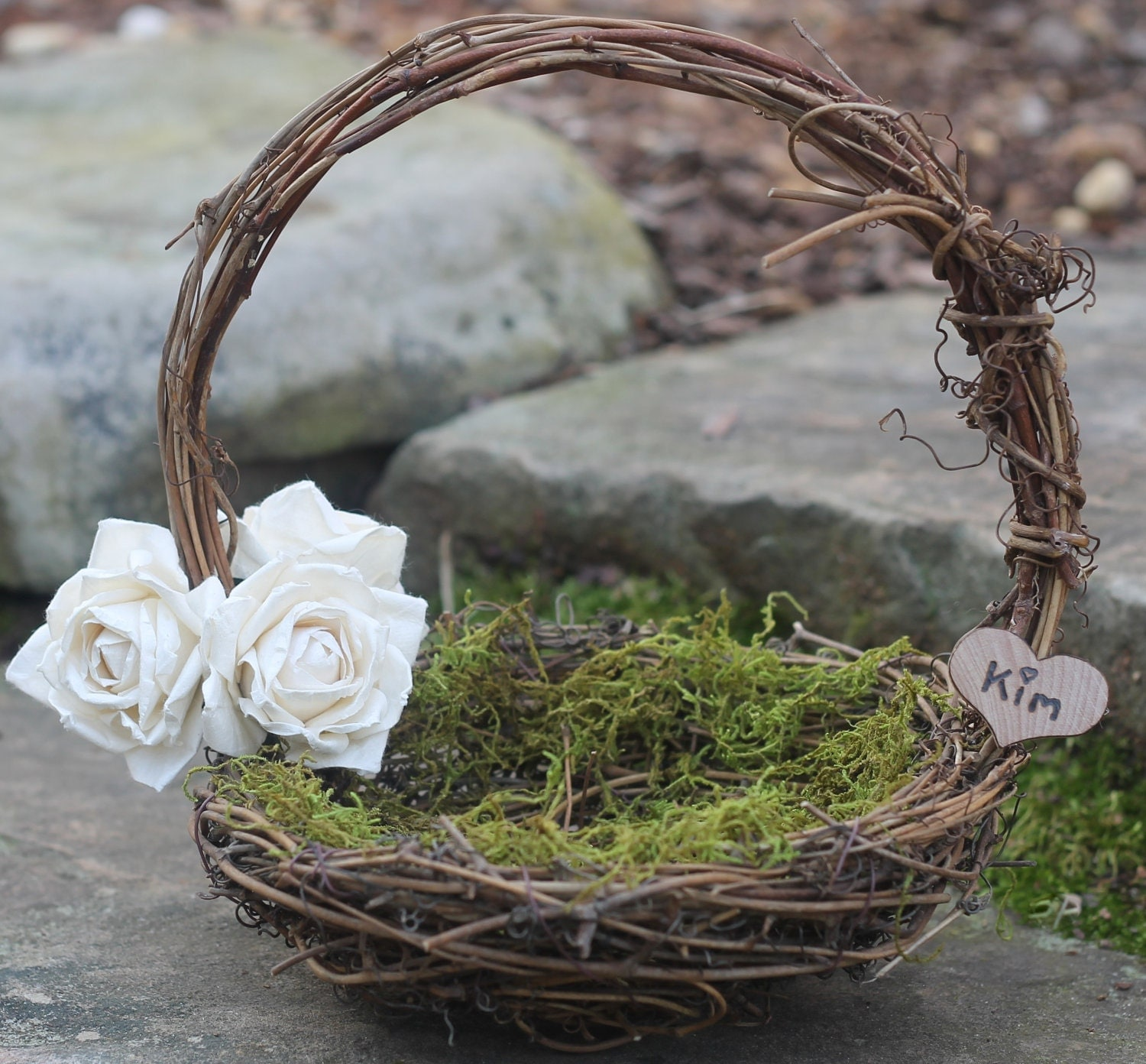 Rustic Flower Girl Basket Nest Personalized By MichelesCottage