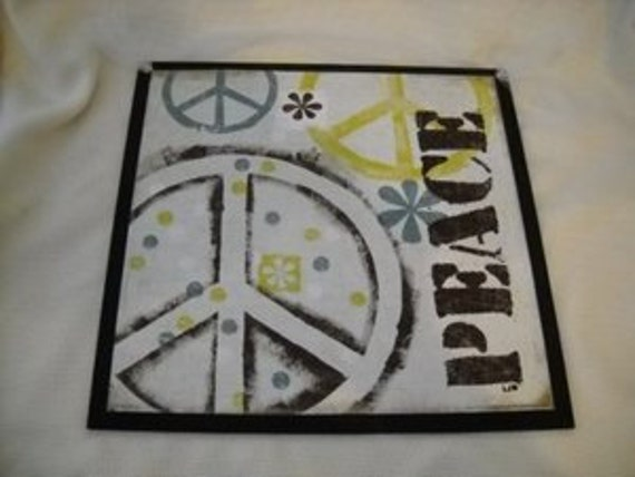 Peace Sign Bedroom Accessories: Items Similar To Peace Sign With Flowers Lime Blue Black