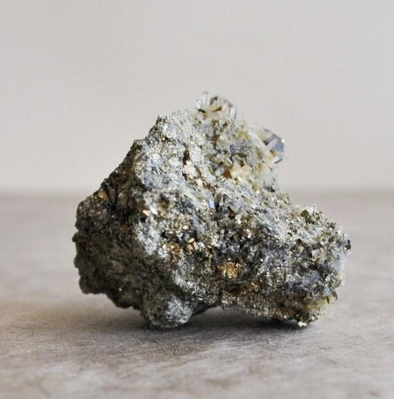 1 pc iron pyrite with tiny quartz crystal points