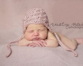 Newborn Baby Girl  Vintage Style Shabby Chic Shell Stitch Cap in Dusty Rose - Photo Prop