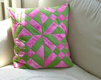 Patchwork pillow  in fresh colors