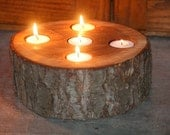 Natural Wood Cherry Tea Light Holder