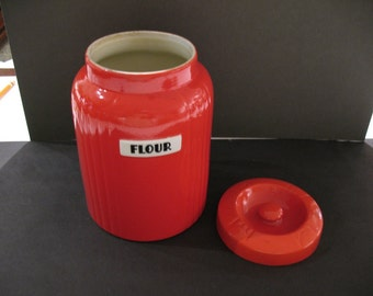 Hall Radiance Chinese Red Flour Canister & Lid
