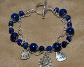 Lapis, Chain, and Charms Bracelet- size 7.5