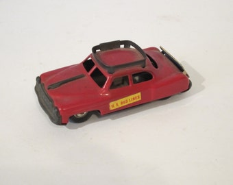 Vintage Red friction Tin Toy Car