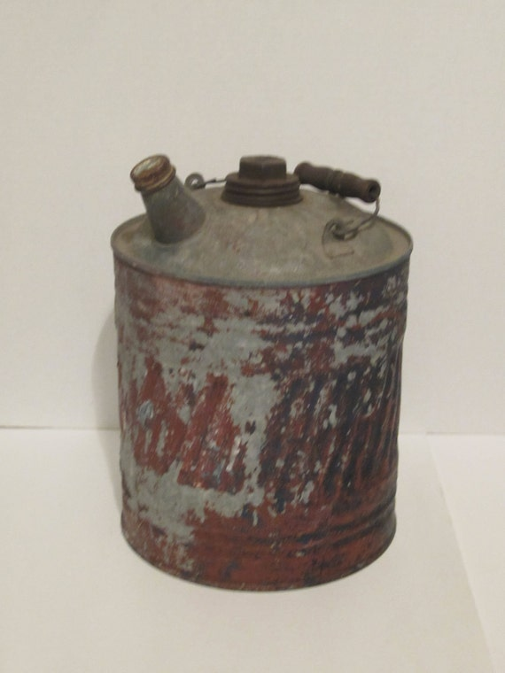 Vintage J&L Ware- Gas, Kerosene Can with Wood Handle